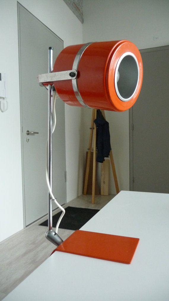Orange atomic desklight retro lamp very cool by HereWeGoDutch, €59.00