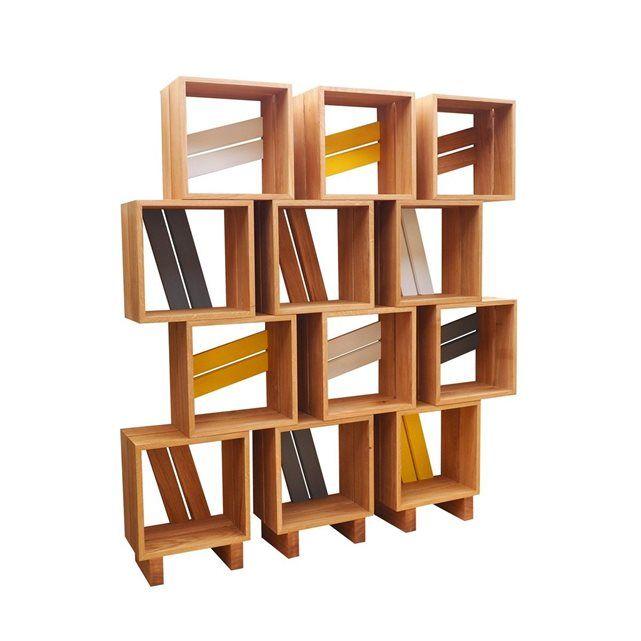 Meuble biblioth que modulable 12 casiers bois jaune gris blanc atelier com - Bibliotheque modulable ikea ...