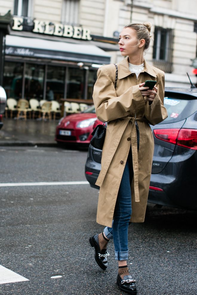Tan trench.