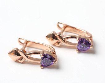 Crystal Earrings Bridal Earrings Gold Earrings Wedding Earrings Purple Earrings Earrings Purple Golden Earrings Golden Earrings Gift For Her