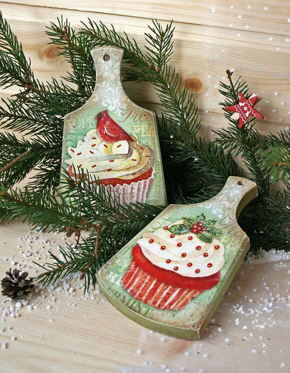 Wooden Set of coasters Christmas cupcake Christmas от DecoDvorik