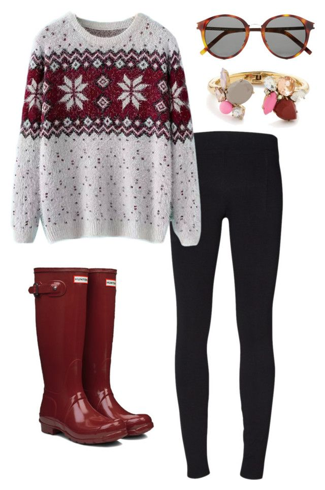 Winter preppy outfit by perfectlypreppy15 on Polyvore featuring Chicnova Fashion, Helmut Lang, Hunter, J.Crew and Yves Saint Laurent