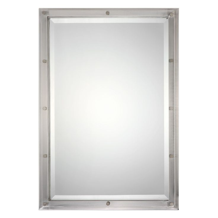 "Multi-layered steel frame finished in plated brushed nickel. Mirror has a generous 1 1/4"" bevel. May be hung horizontally or vertically. 22.5""W x 32""H x 1.5""D"