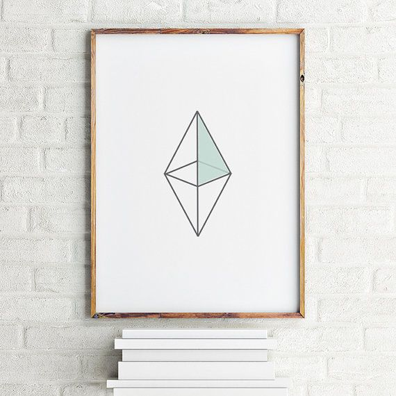 Geometric art print poster Octahedron / Printable by MBstudioprint