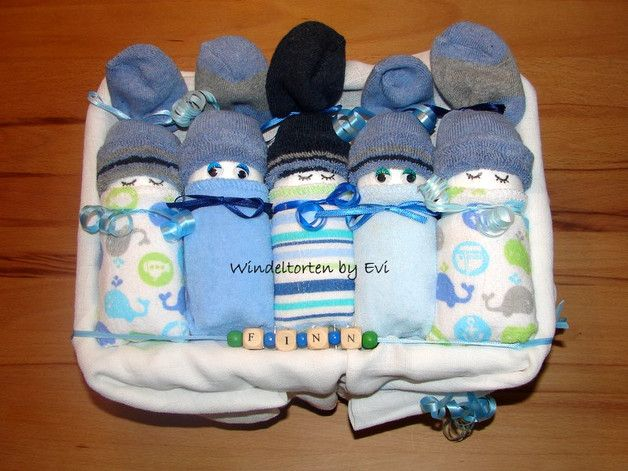 Windeltorten - Windelbabys 'Junge', Babygeschenk - Windeltorte! - ein Designerstück von Windeltorten-by-Evi bei DaWanda