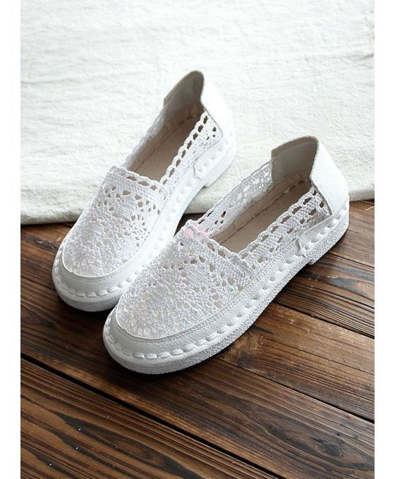 Chrochet espadrilles Round toe Lace Rubber sole Wedding shoes