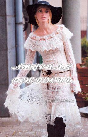 Ажурное платье из тонкого мохера. Описание, схемы вязания