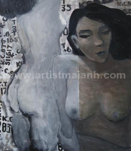 Nude - Figurative Oil Painting by artist Mai Anh #MaiAnh. More paintings for sale and biography at : http://maianh.vxartgallery.com