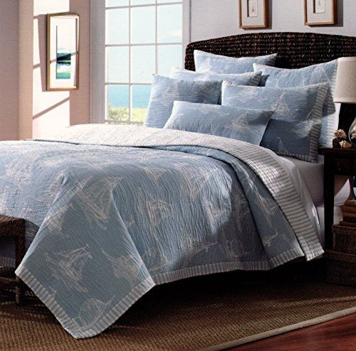 Nicole Miller Nautical Sailboat Design Bedspread 3pc Full