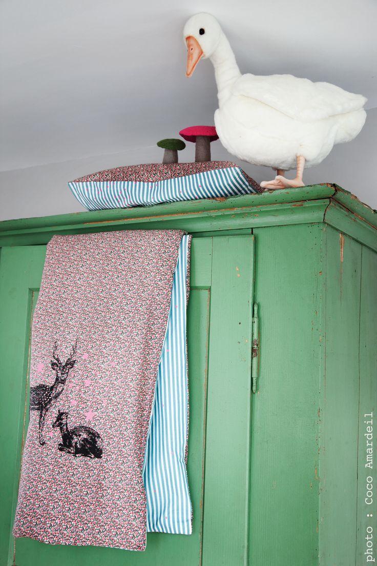Housse de couette bambis Liberty Bed linen for kids - © la cerise sur le gâteau - Anne Hubert - photo: Coco Amardeil