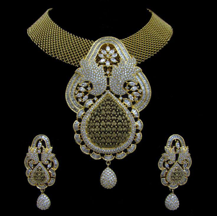 Indian CZ AD Bollywood Fashion Bridal Ethnic Pendant Set Antique Swam Jewelry887