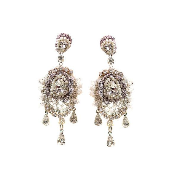 Large Bridal Chandelier Earrings with Posts Pearl & Crystal