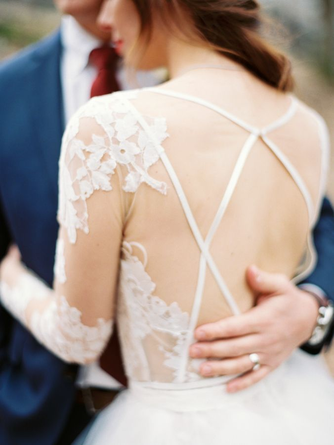 Could this wedding dress back be any prettier?  http://www.stylemepretty.com/little-black-book-blog/2016/03/08/intimate-winter-mountain-wedding/ | Photography: Perry Vaile - http://perryvaile.com/