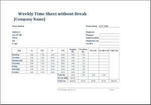 Employee weekly time sheet without break DOWNLOAD at http://www.doxhub.org/timesheet-templates/