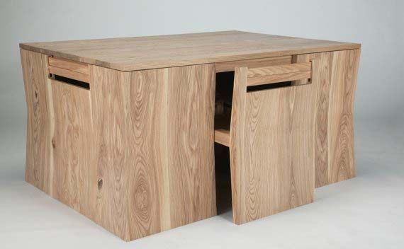 Unique Wooden Dining Table Design Furniture With Hidden Chairs ...