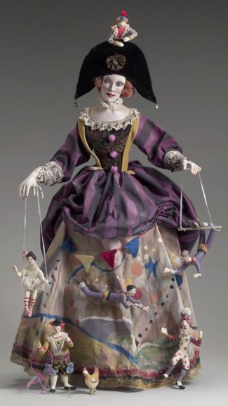 Circus Panniere ~ by Nancy Wilson - limited edition doll, Oil painted paper clay $ 3200 -- http://www.nancywiley.com/pastwork.html