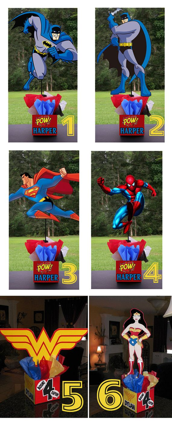 "DIY 12"" Small Superhero Birthday Party Centerpieces baby shower wonder woman batman spiderman superman Super Hero. $10.00, via Etsy."
