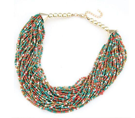 2015 Mujeres Gargantillas Collar de Cuentas Hechas A Mano Collares Declaración de Bohemia Collar de Tendencias de la Joyería Para El Regalo Del Partido de La Boda