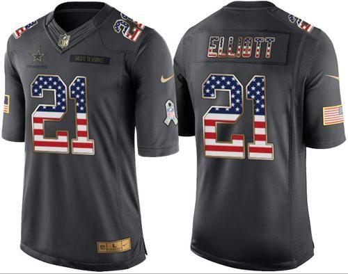 Nike Cowboys #21 Ezekiel Elliott Black Men's Stitched NFL Limited USA Flag Salute To Service Jersey