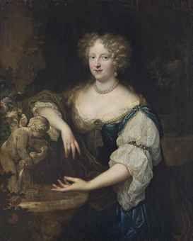 Caspar Netscher - Portret van een dame in blauw en witte jurk, met gouden wikkel en parel sieraden