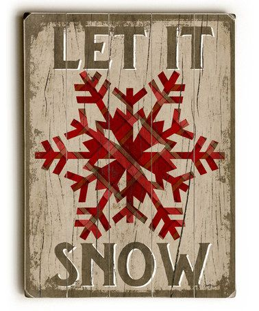 This Red 'Let It Snow' Snowflake Wood Wall Art is perfect! #zulilyfinds