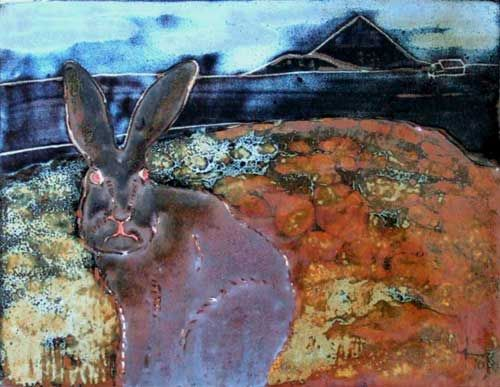 Dooghmakeon Hare. The hare is glazed with an oil-spot glaze which luckily didn't spot. The sky and hills are jun glaze, the foreground other oilspot glazes over iron slip.