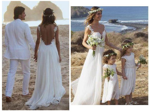 Em seu casamento com Paulo Vilhena, Thaila Ayala usou um vestido de noiva de renda e mousseline com um belo decote nas costas. Para completar o look, uma coroa de flores sobre os cabelos soltos. Uma inspiração e tanto para um casamento na praia!