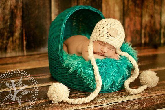 Cream Button Newborn Pom Hat