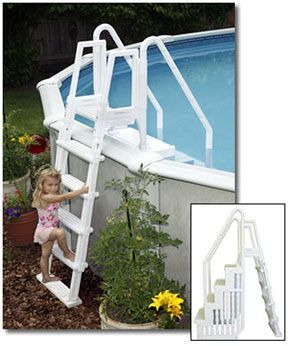 easy above ground pool steps with outside ladder