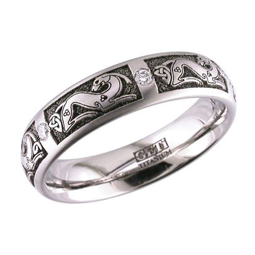 Titanium Diamond Celtic Wedding Ring
