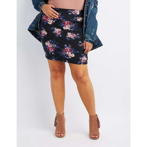 Charlotte Russe Floral Bodycon Mini Skirt ($11) ❤ liked on Polyvore featuring plus size women's fashion, plus size clothing, plus size skirts, plus size mini skirts, black multi, plus size floral skirt, flower skirt, short mini skirts, short floral skirt and floral mini skirt