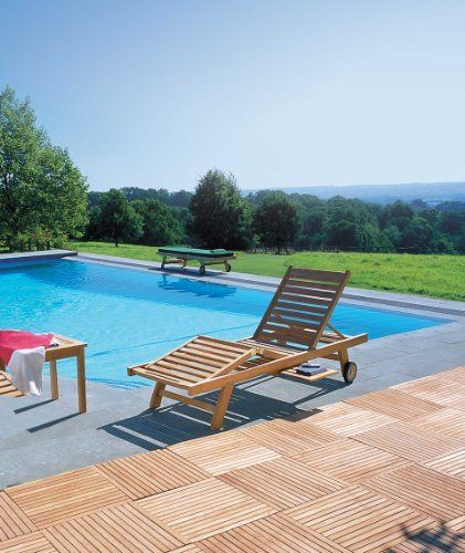 Two Outdoor Wooden Luxury Sun Loungers with Blue Cushions and you get a  Picnic Garden Table - Jati Brand, Quality Value by Jati, + UK delivery