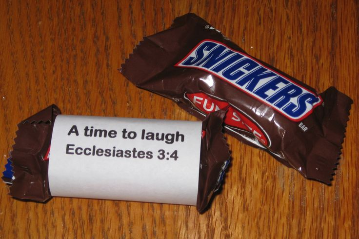 PALANCA:   Ecclesiastes 3:4  Snickers candy bar wrapped with scripture
