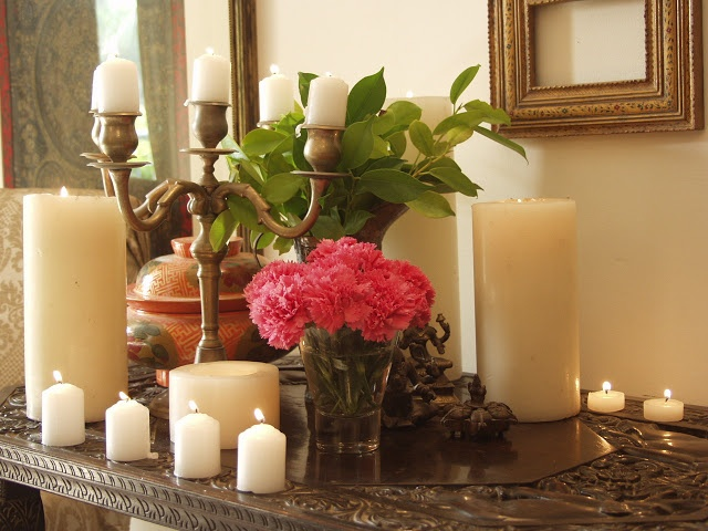 """... if you are looking for your Diwali decor inspirations ... hope you'll be stopping by ... pick your color theme ... decide on the flowers ... I love to spread them all around the house in small bunches ... how about one set of glasses for the flowers ... :)"""