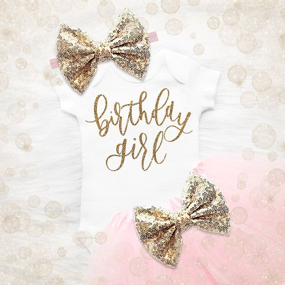 Birthday Girl 1st Birthday Outfit  Pink And Gold 1st Birthday