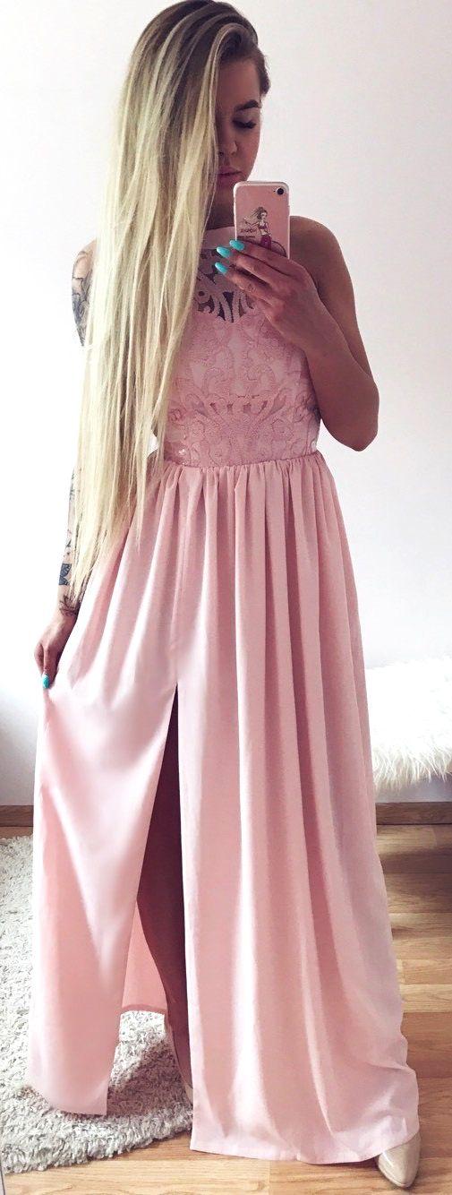 Długa różowa sukienka Olivia.  Pudrowo różowa sukienka dla druhny.  Polski producent -> illuminate.pl  369 zł