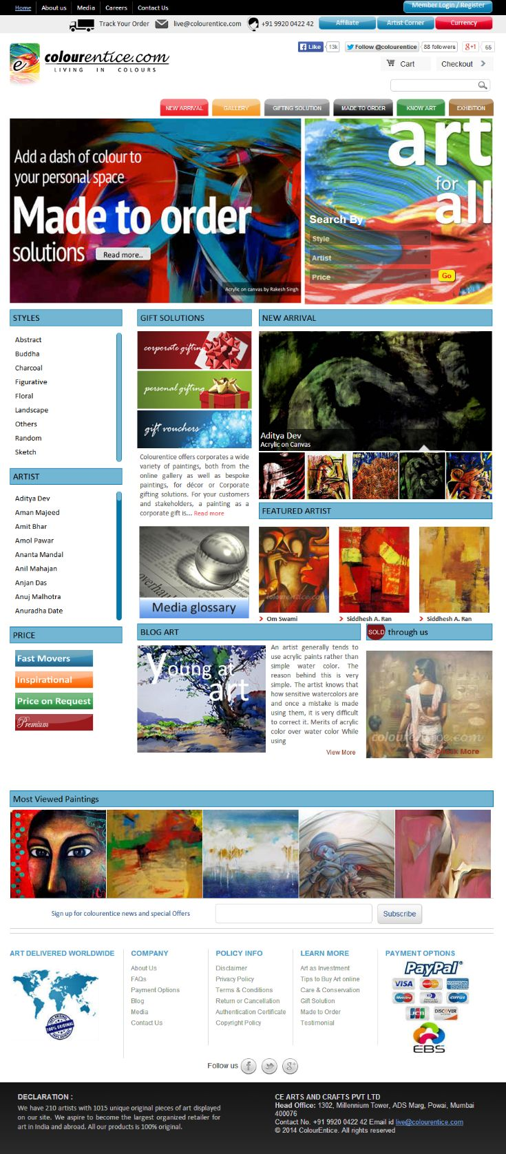 Colourentice is an E-Commerce portal for buying and selling paintings of various styles. We  design and develop this website using #Drupal Framework. jQuery, Ajax are extensively used in this project. This project has feature for viewing products in Multi-currency with PayPal and EBS payment gateways are integrated for carrying out online transactions.