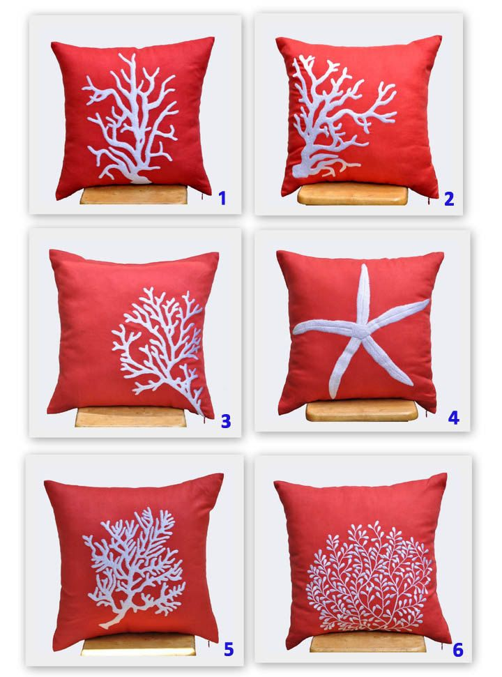 Starfish Decorative Pillow Cover, White Starfish Embroidery Red Orange Linen, Throw Pillow Cover 18 x 18, Beach Pillow, Orange Pillow Case