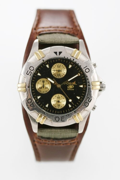 Fossil Mens Watch Black Chrono Stainless Silver Gold Leather Brown 30m Quartz