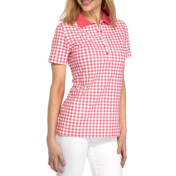 Kim Rogers Coral Cast Short Sleeve Gingham Polo Shirt - Women's ($15) ❤ liked on Polyvore featuring tops, coral cast, polo gingham shirt, short sleeve polo shirts, polo shirts, red short sleeve top and short sleeve tops