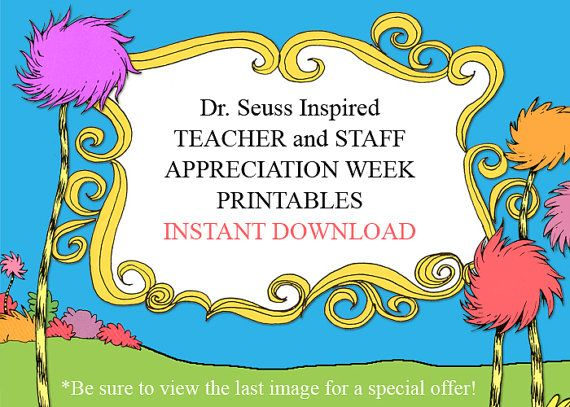 INSTANT Dr. Seuss Teacher and Staff Appreciation Week Printables - Complete Collection $35