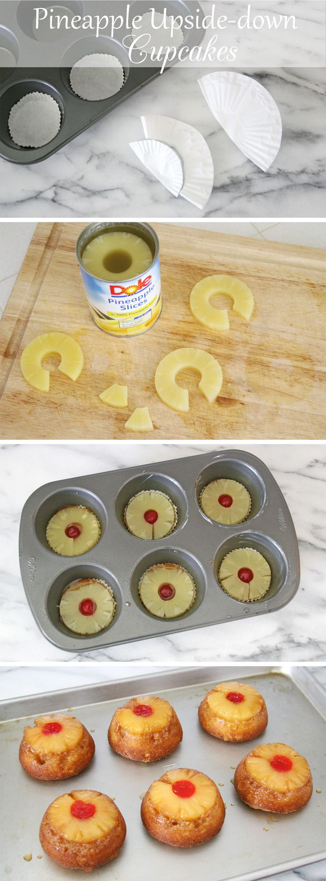 """""""Pineapple Upside-Down Cupcakes - by  glorioustreats.com""""  Awesome recipe! Except I didn't use corn syrup in my glaze. No need! The cake recipe is awesome, but don't expect healthy. These were a definite hit."""