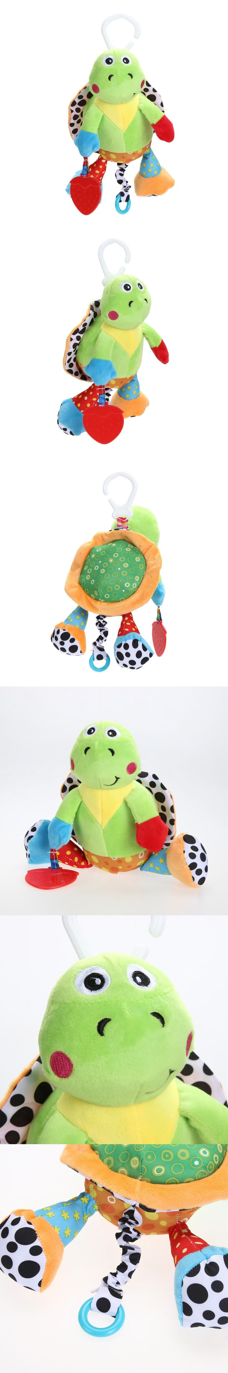 Baby Toys Turtle Kids Plush Toy Teether Baby Rattle Grab Bed Hanging Musical Educational Toys Tortoise $9.41