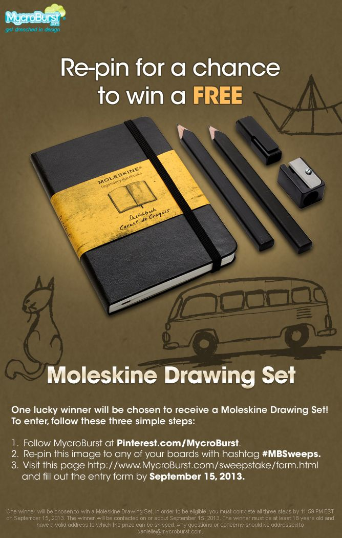 Follow us, re-pin this with #MBSweeps, and enter here: http://www.mycroburst.com/sweepstake/form.html for your chance to win a Moleskine Drawing Set!