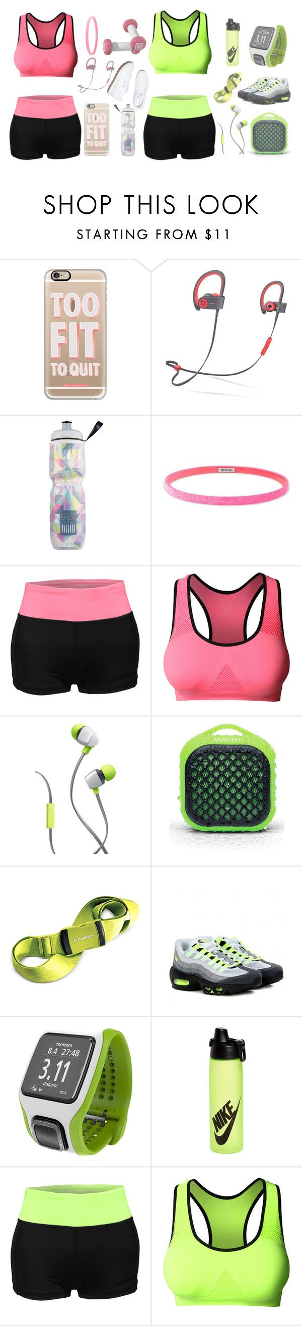 """""""Neon Pink vs. Neon Green"""" by le3noclothing ❤ liked on Polyvore featuring Reebok, Casetify, Beats by Dr. Dre, Victoria's Secret, Sparkly Soul, LE3NO, Merkury Innovations, Samsonite, NIKE and TomTom"""