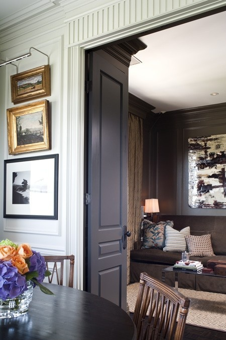 Gorgeous light gray walls and dark gray doors