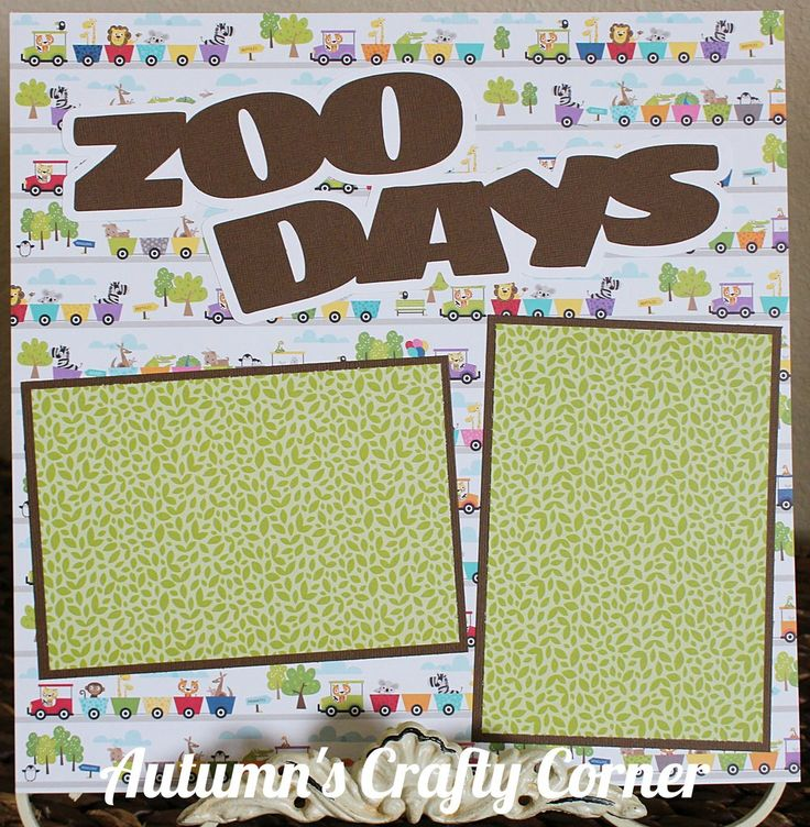 Zoo Days - Basic Premade Scrapbook Page 12x12 Layout for Album