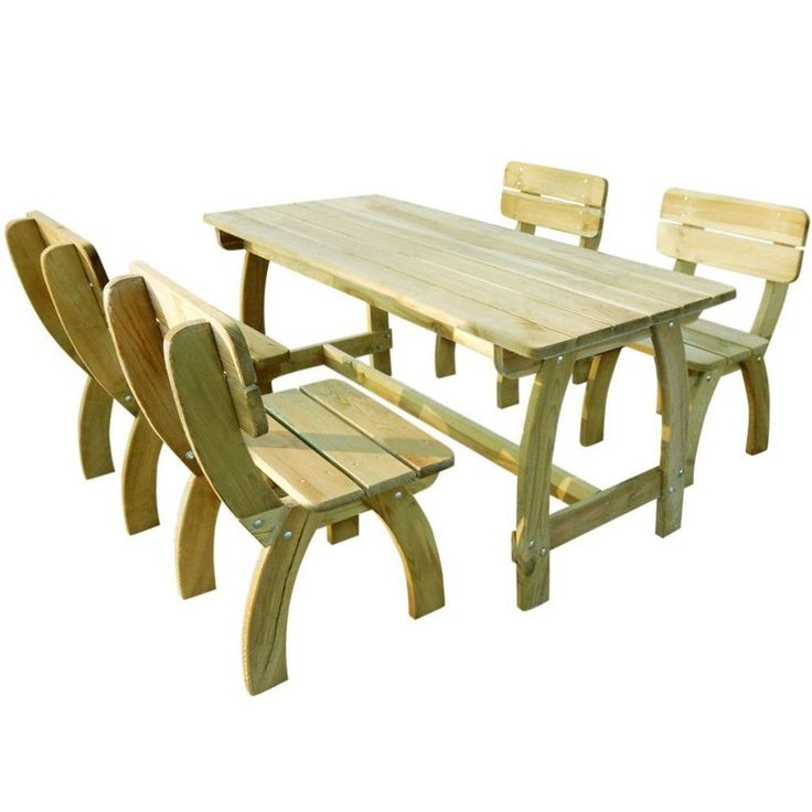Wooden Garden Furniture Set Outdoor Patio Table And Chairs 5 Piece 4 Seater New