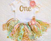 Roze Mint gouden stof tutu outfit, eerste verjaardag tutu set, roze Mint Gold verjaardag tutu Outfit, roze gouden munt verjaardag, baby meisje verjaardag