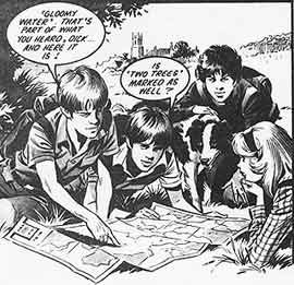 Famous Five comic strip artwork by Mike Noble, 1978 Famous Five get into QR Codes - party idea
